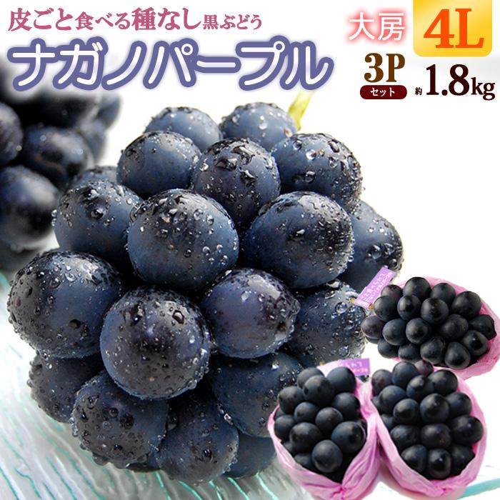 送料無料 4L限定 ナガノパープル 皮ごと 種なしの大ブレイク人気ぶどう ブドウ 葡萄 ギフト 日本未発売 長野 ぶどう 約1.8kg 食品 長野産 種無し 人気ブランド多数対象 秀品 ナガノパープル4L×3房 フルーツ 果物
