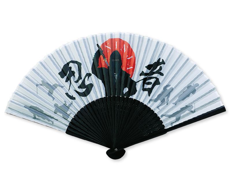 【名入れ印刷 30本】 扇子 和柄扇子 黒染中彫 忍者 NINJA FU-5895 男性用 メンズ 女性用 レディース 送料無料