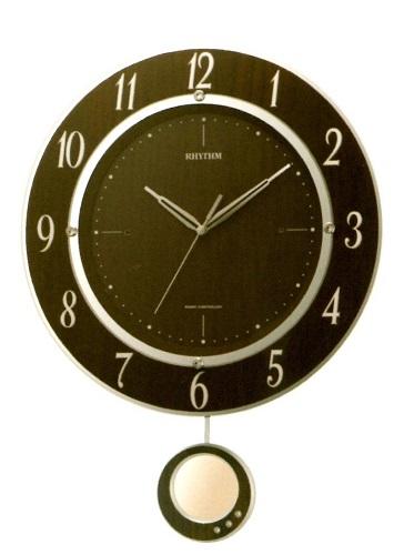 リズム 電波掛け時計 丸型 飾り振り子付 トライメテオDX スワロフスキークリスタル 夜眠る秒針 電池交換お知らせ機能 送料無料