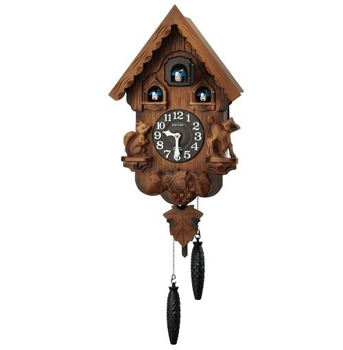 リズム時計 カッコークロック パンキーR クオーツ 飾り振り子 飾り重錘付 木枠 3羽のカッコー 送料無料