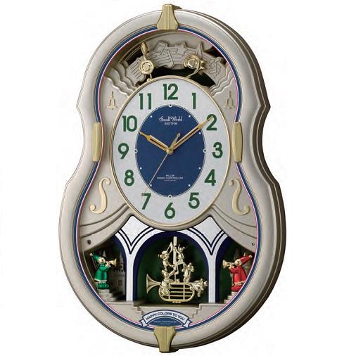 リズム RHYTHM 電波掛け時計 スモールワールドカラーズメロディ30曲 オーロラサウンド デザインクロック 送料無料