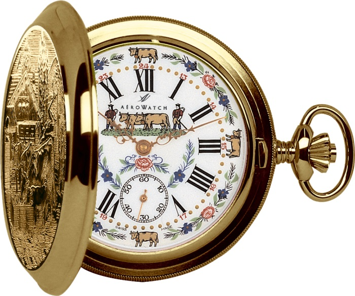 AERO懐中時計 55626J501 機械式手巻き時計 ファンシー文字板 送料無料