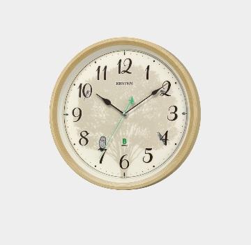 リズム時計.日本野鳥の会 四季の野鳥 報時掛時計409野鳥の声報時クロック 野鳥の声図鑑付 送料無料