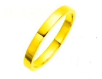 K18YGリング ブライダルリング 結婚指輪 エンゲージリング 平打無地リング 幅3.0mm 手造りリング マリッチリング 金色リング 送料無料