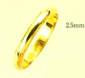 K18金色 結婚リング ブライダルリング 甲丸無地リング エンゲージリング 幅2,5mm ファッションリング マリッチリング 送料無料