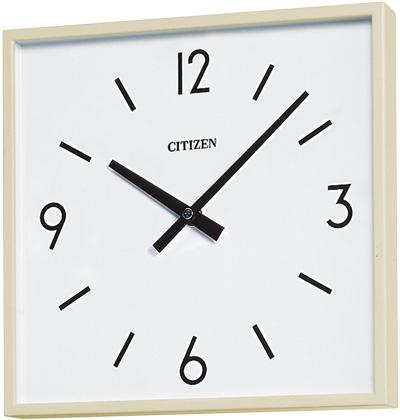 設備時計 シチズン K-4009 壁掛 子時計 屋内用 角型 310X310mm 配線時計 工時時計 電気時計 AC電源時計 電波時計 クリーム色 12mA DC24V 有極30秒運針