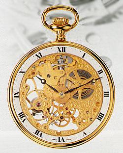 AERO 懐中時計 機械式手巻 金張ケース 両面スケルトン (送料無料)