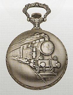 AERO.懐中時計・55668AG01.機械式手巻.蒸気機関車 いぶし銀仕上 (送料無料)