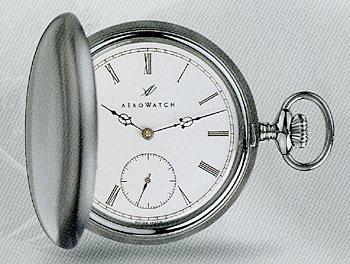 AERO 懐中時計 55824AA01 機械式 手巻き ステンレスケース フタ付 ポケットウオッチ メカニカルウオッチ 提げ時計 送料無料