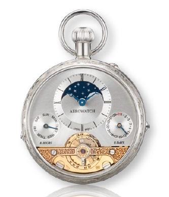 AERO 88798A901 懐中時計 パワーリザーブ ムーンフェイズ 提げ時計 機械式 手巻 ポケットウオッチ 送料無料