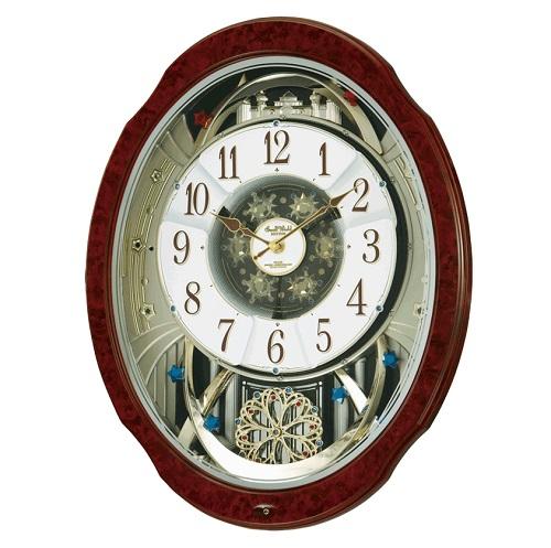 からくり 電波掛け時計 メロディ30曲つき SmallWorld オーロラサウンド スワロフスキークリスタル 送料無料