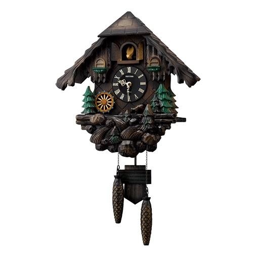 リズム時計 カッコークロック ヴァルト木枠 飾り振り子付 飾り重錘付 デザインクロック 正時オルゴール音 水車 送料無料