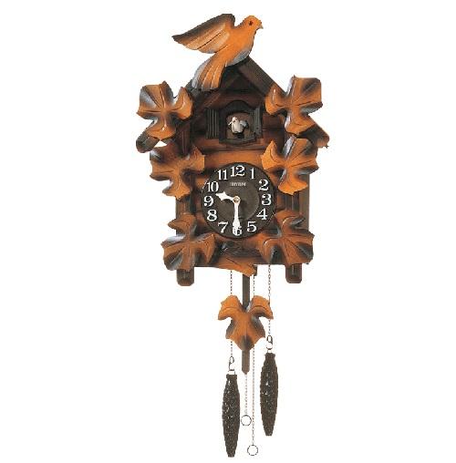 リズム時計 カッコークロック 木枠 飾り振り子 飾り重錘付 メイソンR クオーツ 送料無料