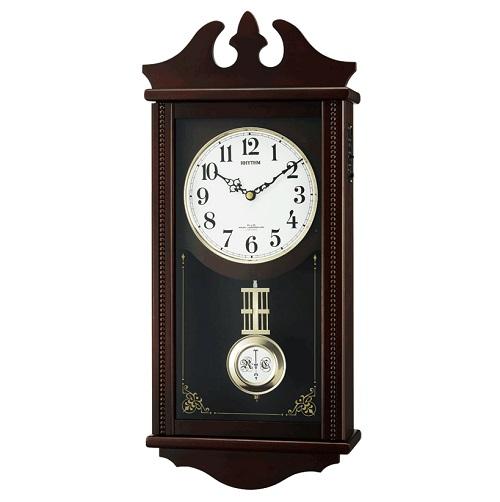 リズム 報時付 電波受信式 柱時計 ぺデルセンR 電子音数取り式 掛け時計 クラシックタイプ 送料無料