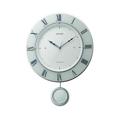リズム 電波掛け時計 丸型 飾り振り子付 トライメテオ スワロフスキークリスタル 夜眠る秒針 電池交換お知らせ機能 送料無料