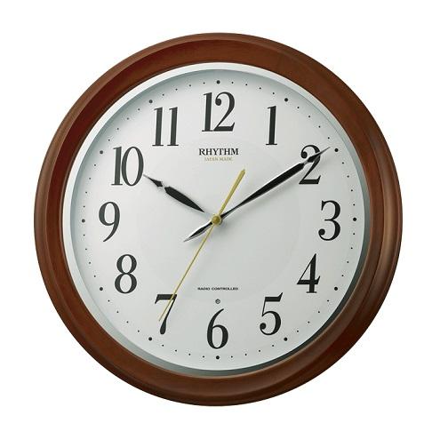 リズムクロック 電波掛け時計 フィットウェーブアヤ 木枠 丸型 送料無料