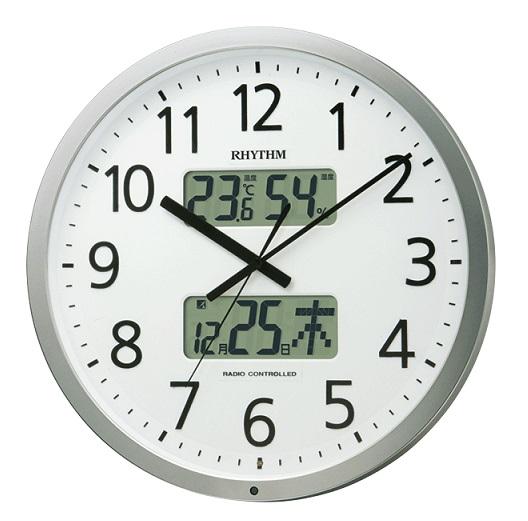 リズム プログラムチャイム カレンダーつき 電波掛け時計 φ380 夜眠る秒針 報時電子音 報時往路グラム 正時電子音 電池交換お知らせ機能付 電池寿命2年 温度湿度表示 送料無料(20)