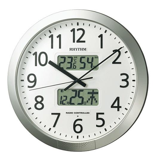 リズム プログラムチャイム カレンダーつき 電波掛け時計 φ430 夜眠る秒針 報時電子音 報時往路グラム 正時電子音 電池交換お知らせ機能付 電池寿命2年 温度湿度表示 送料無料(27)