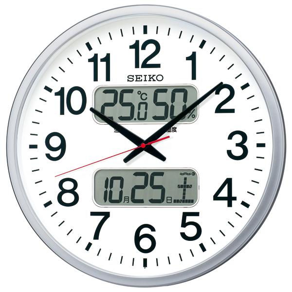 視認性の高いデザインにカレンダー、温度・湿度表示つき電波掛時計 直径500mmで広い空間にも 電池寿命5年 グリーン購入法適合 送料無料