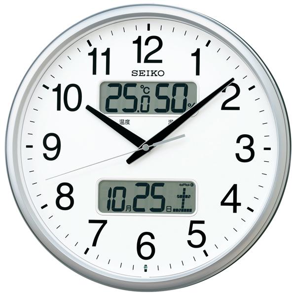 視認性の高いデザインにカレンダー、温度・湿度表示つき電波掛時計 電池寿命5年 グリーン購入法適合 送料無料