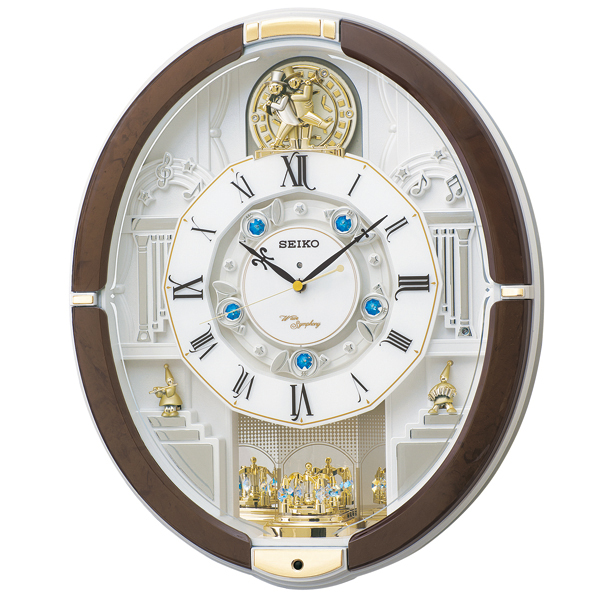 多彩なメロディとインテリアに調和するマーブル模様のからくり時計 送料無料