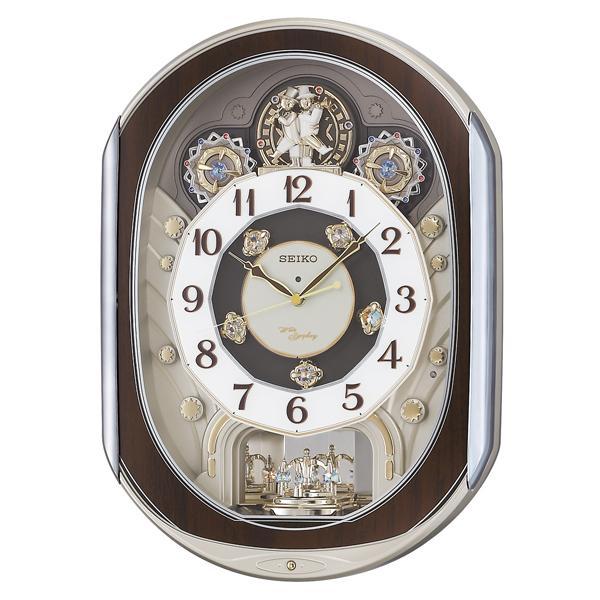 セイコー電波掛け時計 からくり時計 毎正時のダイナミックなパフォーマンスが魅力 シックなブラウンを基調としたカラーリングがモダンリビングにマッチします 送料無料