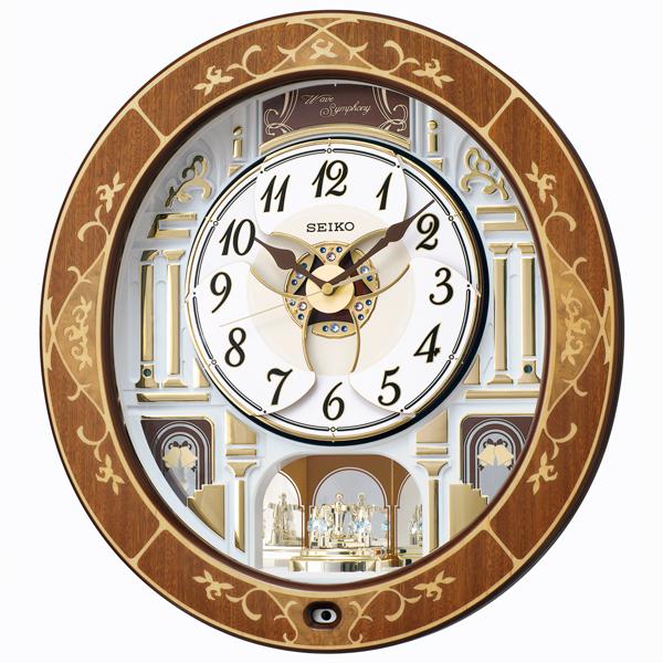 セイコー 電波時計 からくり時計 バラをモチーフにした天然木の象嵌と華やかなパフォーマンスが魅力のからくり時計です 送料無料