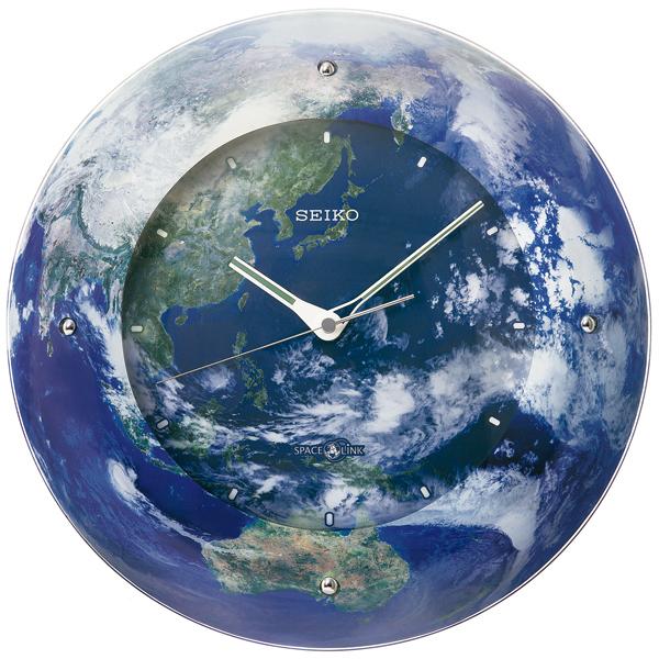 セイコー 衛星電波時計 スペースリンク 宇宙からみた美しい地球を全面に配したクロック製造125周年記念品 送料無料