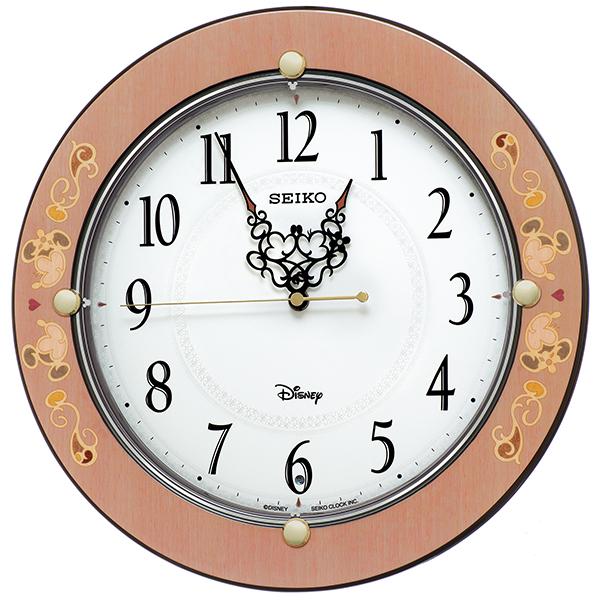 セイコー電波掛け時計 大人ディズニー シックな象嵌風デザインのKiss & Heart 送料無料