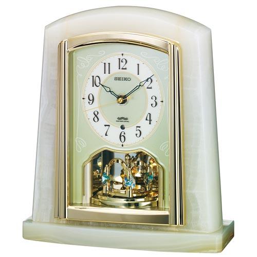 セイコー 電波置き時計 オニキス枠 テーブルクロック 送料無料