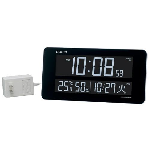 セイコー 高コントラストで見やすいデジタル掛時計 液晶表示を70色から選択できます 交流電源式