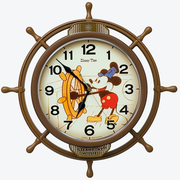 セイコー からくり時計 電波掛け時計 ミッキー ミッキーマウスのデビュー映画「蒸気船ウィリー」をモチーフに舵輪がゆっくりと揺れる楽しい掛時計 送料無料