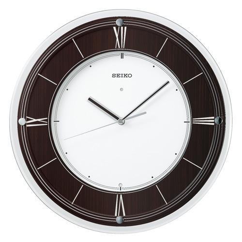 SEIKO モダンな世界を演出する、「インターナショナル・コレクション」シンプルな中にも確かな存在感を醸す、黒檀柄の電波掛時計。送料無料