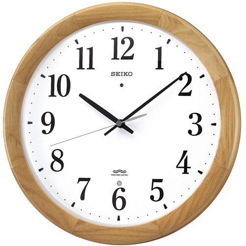 SEIKO 電波掛時計 木枠 アルダー 天然色木地塗装 和室にぴったりのクロック セイコークロック正規販売店 送料無料