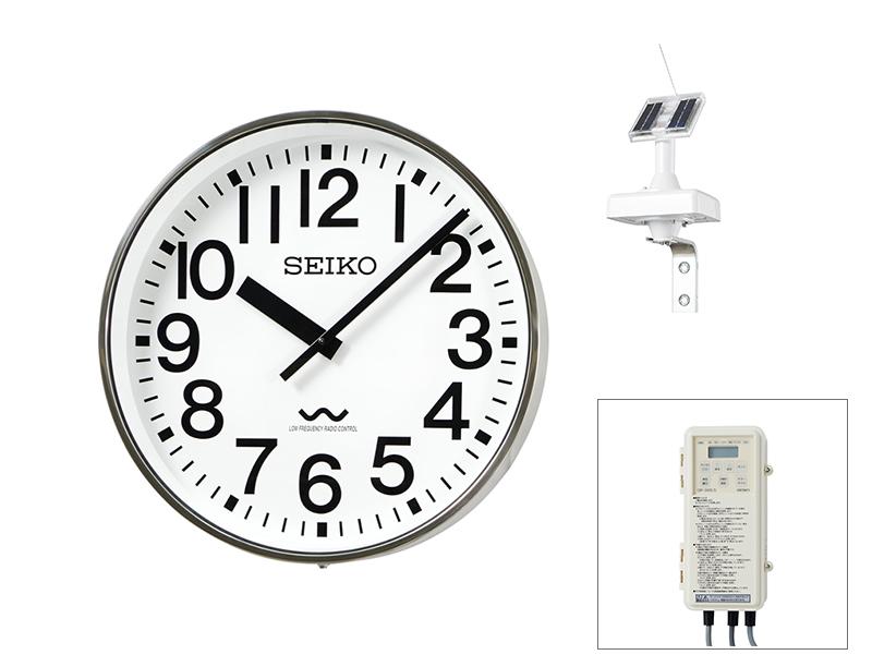 SEIKO屋外時計 長波電波時計 壁掛型 ソーラー式 ステンレスケース ø700 送料無料
