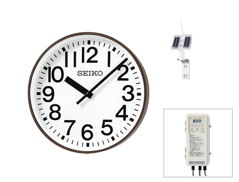 SEIKO屋外時計 FM電波時計 壁掛型 ソーラー式 鋼板、コーヒーブラウン色塗装 ø550 送料無料