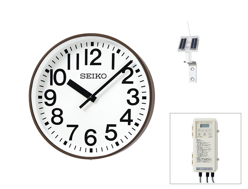 SEIKO屋外時計 クオーツ時計 壁掛型 ソーラー式 鋼板、コーヒ―ブラウン色塗装 ø550 送料無料