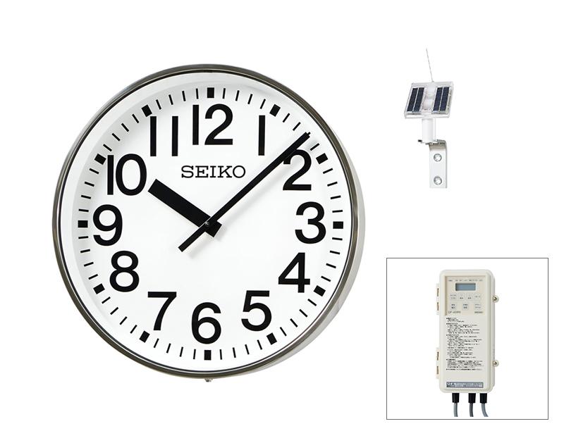 SEIKO屋外時計 FM電波時計 壁掛型 ソーラー式 ステンレス枠 ø700 送料無料