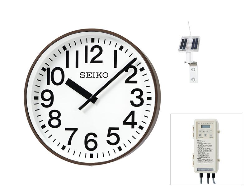 SEIKO屋外時計 クオーツ時計 壁掛型 ソーラー式 鋼板枠、コーヒーブラウン色塗装 ø700 送料無料