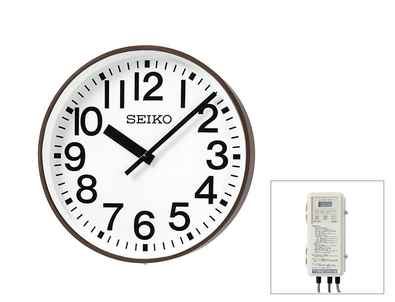 SEIKO屋外時計 FM電波時計 交流式 壁掛け型 コーヒ―ブラウン色塗装 700mm 送料無料