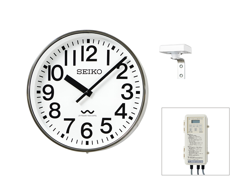 SEIKO屋外時計 長波電波時計 交流式 壁掛け型 ステンレス枠 ø700 送料無料