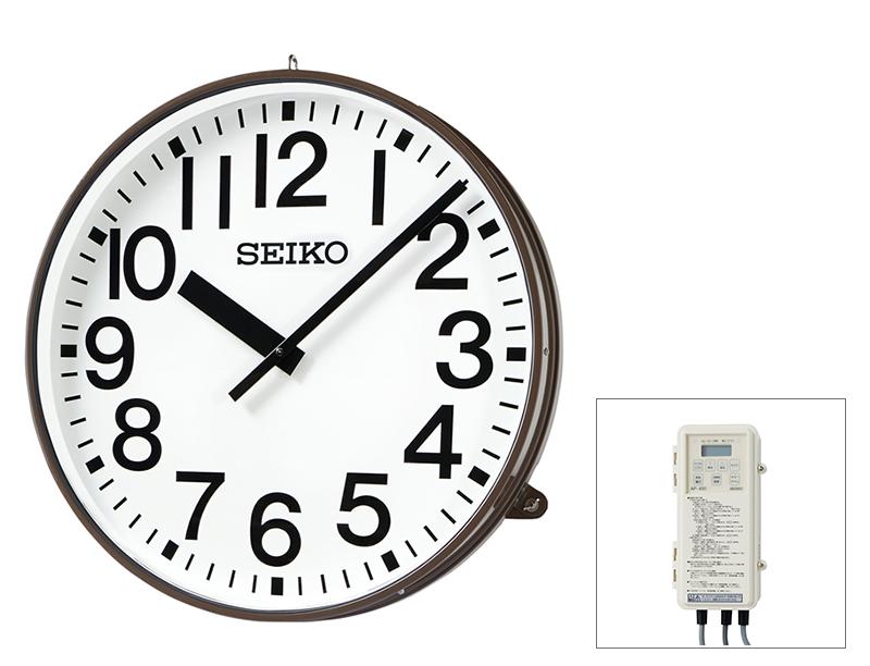 SEIKO屋外時計 クオーツ時計 交流式 AC100V電源 壁掛け型 コーヒ―ブラウン色塗装 900mm 送料無料
