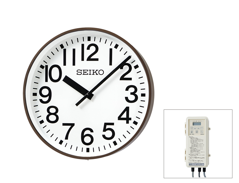 SEIKO屋外時計 クオーツ時計 交流式 壁掛け型 コーヒ―ブラウン色塗装 700mm 送料無料
