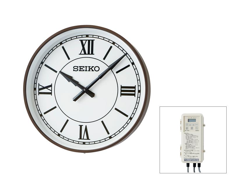 SEIKO屋外時計 FM電波時計 交流式 壁掛け型 内部照明付き コーヒ―ブラウン色塗装 700mm 送料無料