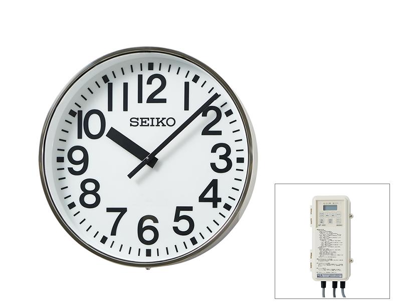 SEIKO屋外時計 クオーツ時計 交流式 壁掛け型 内部照明付 ステンレス枠 700mm 送料無料
