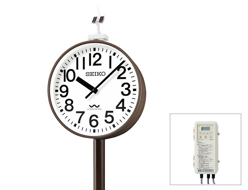 セイコー片面ポール型 ソーラー式 700mm 長波電波時計【鋼板製】