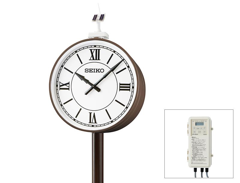 セイコー両面ポール型 ソーラー式 700mm GNSS衛星電波時計【鋼板製】(受注生産品)