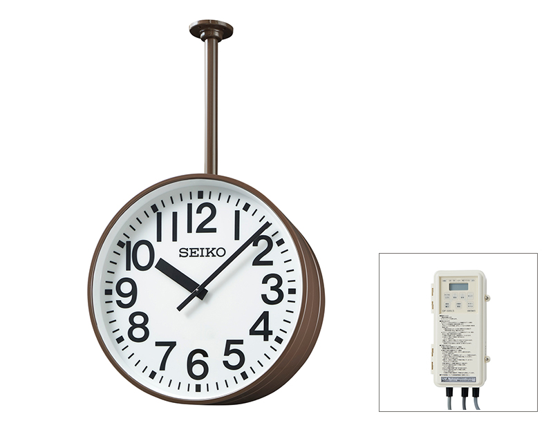セイコー両面吊り下型 交流式 700mm クオーツ時計 内部照明 白色LED【鋼板製】