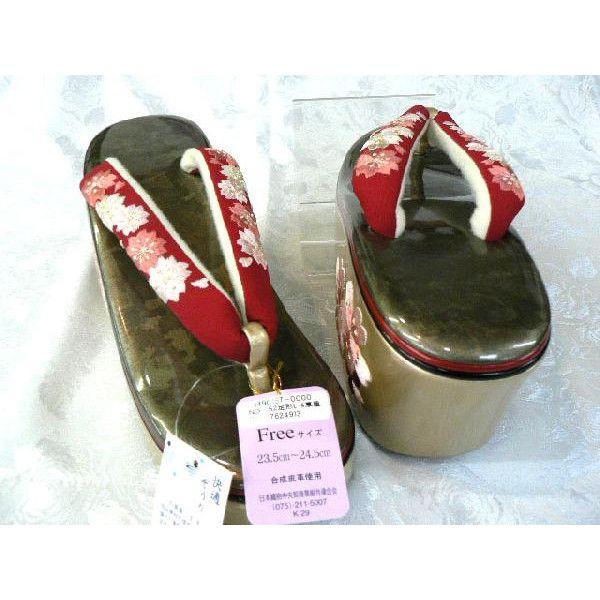 ハイヒール型の刺繍草履・左右別型/赤鼻緒繍
