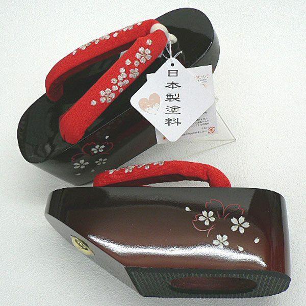 花魁(おいらん)の雰囲気・こっぽりタイプ ・桜花彫・刺繍鼻緒・No,04・赤/エンジ